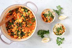 Marokkanischer Kichererbsen, Grünkohl und Süßkartoffel-Eintopf