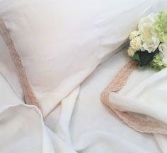 cotton and linen broderie anglaise trimmed pure organic linen sheets Linen Sheets, French Country House, Blue Flowers, Organic, Pure Products, Cotton, Collection, Decor, Broderie Anglaise