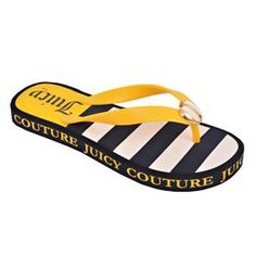yello and black and white flip flops. Love