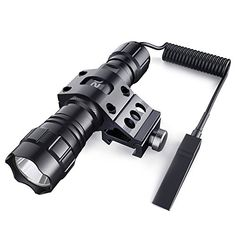 CISNO 1000Lumens LED Hunting Tactical Flashlight Torch, Constant and Temporary Pressure Remote Switch, 1'' Offset Rail Mount, Flat Black #CISNO #Lumens #Hunting #Tactical #Flashlight #Torch, #Constant #Temporary #Pressure #Remote #Switch, #Offset #Rail #Mount, #Flat #Black