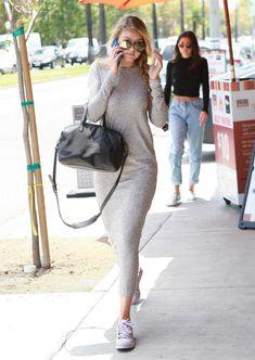 Gigi Hadid Wearing Adidas Supercolor Superstars.