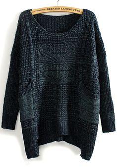Blue Hollow-out Pockets Irregular Loose Blend Sweater