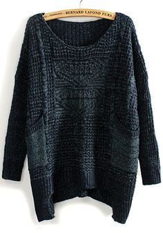 Blue Hollow-out Pockets Irregular Loose Blend Sweater