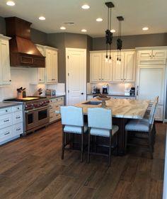 Fantasy Brown Quartzite counters and Restoration Hardware paint in Slate. Ugly Kitchen, Small Space Kitchen, Kitchen On A Budget, Ikea Kitchen, Kitchen Decor, Kitchen Ideas, Blue Backsplash, Kitchen Backsplash, Backsplash Ideas