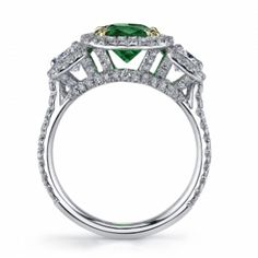 Emerald & Diamond 3-Stone Ring