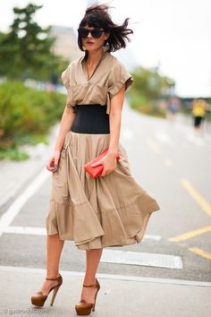 On the West Side Highway, no wind machine needed. Belted Khaki Dress, outside Prabal Gurung, NY