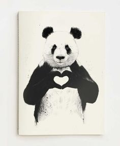 """The Stupell Home Decor Collection 10 in. x 15 in. """"Black and White Panda Bear Making a Heart Ink Illustration"""" by Balazs Solti Wood Wall Art, Multi-Colored Love Canvas, Canvas Wall Art, Canvas Prints, Art Prints, Painting Canvas, Diy Canvas, Canvas Totes, Animal Prints, Canvas Size"""