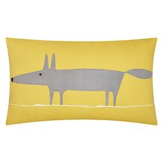 Mr Fox Cushion in sunshine yellow to brighten up your sofa and add a little quirky to your lounge
