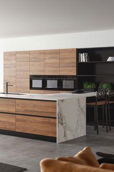 Nieuw van Keller Keukens: wát een droomkeuken! Alle keukentrends van nu komen samen in dit ontwerp. Warm eikenhout, mat zwart, cognac kleur én een marmeren aanrechtblad. Voor wie zou deze keuken perfect zijn? Taggen maar! #kellerkeukens #modernekeukens #modernwonen #warmhout #eikenhout #cognackleur #marmer #spoeleiland #matzwart #moderndesign #houtdecor #houtfineer #openkasten #marmerlook #interiorinspo #kitcheninspo #homeinspo #newhome #instadesign #kitchendecor #kitchendesign Kitchen Modular, Kitchen Units, Wooden Kitchen, Beton Design, Küchen Design, Luxury Kitchen Design, Interior Design Kitchen, Home Decor Kitchen, New Kitchen