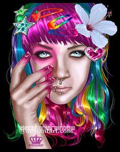 Electronic Rainbow girls illustration (10)