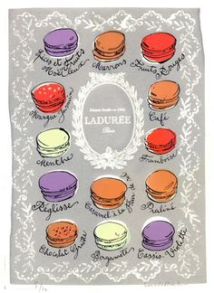 Macaroons at Laduree. Laduree Macaroons, French Macaroons, Food Illustrations, Illustration Art, Slim Yoga, Laduree Paris, Macaron Flavors, Screen Print Poster, France