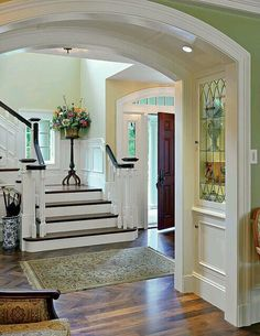 Built by Soderholm Custom Builders; Stone & Tile by United Marble Fabricators; Floor by Galvin Flooring; Photography by Richard Mandelkorn Built by Soderholm Custom Builders; Stone & Tile by United Marble Fabricators; Floor by Galvin Flooring; Foyer Decorating, Interior Decorating, Interior Design, Stairway Decorating, Decorating Ideas, Decor Ideas, Interior Modern, Fun Ideas, Interior Ideas
