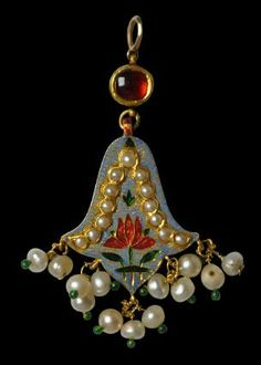 Michael Backman Ltd - Asian & Islamic Jewellery  Two-Sided, Enamelled, Gold Pendant Jaipur, India 19th century Inventory no.: 3172