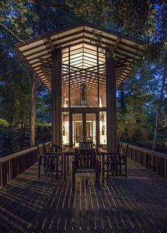 "Shaheen-Goodfellow Cottage ""Stoneflower,"". 1965. Eden Isle, Greers Ferry Lake. Arkansas. E. Fay Jones."