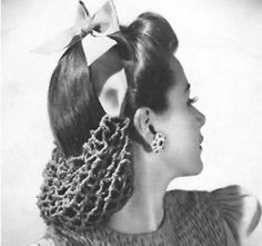 1940s fashion - this was called a 'snood.' It was used when the lady wanted her hair to stay in place, when she didn't have time to curl it....or riding in a convertible/roadster!