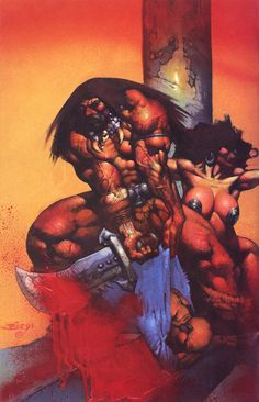 Conan (by Simon Bisley) Simon Bisley, Fantasy Sword, Fantasy Warrior, Fantasy Paintings, Fantasy Artwork, Oil Paintings, Red Sonja, Comic Book Artists, Comic Artist