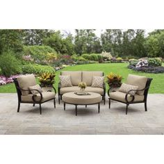 Outdoor Patio Better Homes and Gardens Englewood Heights II Aluminum Patio Conversation Set, Seats 4 Used Outdoor Furniture, Cheap Patio Furniture, Patio Furniture Cushions, Patio Cushions, Garden Furniture Sets, Patio Chairs, Furniture Covers, Patio Table, Adirondack Furniture