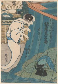"The actor Bando Hirosaburo in two roles: the ghost of Kohada Koheiji and his sleeping wife Otawa in the play ""Iroiri Otogigusa"", ca. 1830 by Utagawa Kunisada"