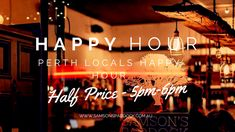 Happy hour for Perth locals! Half Price every week night from to Hurry up & book a table, online! Up Book, Bar Grill, Half Price, Perth, Restaurant Bar, Happy Hour, A Table, Neon Signs, Rooms