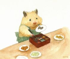 Japanese Artist Depicts The Typical Life Of His Pet Hamster, And The Result Is Adorable Kawaii Illustration, Cute Animal Drawings, Cute Drawings, Pretty Art, Cute Art, Japanese Hamster, Funny Hamsters, Art Mignon, Watercolor Pictures