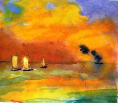 Emil Nolde, Sea and Light Clouds, 1935 on ArtStack #emil-nolde #art