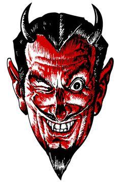 Vintage Victorian / Steampunk Red Winking Devil - Vectors, Clip Art, Graphics, EPS & Scrap Book