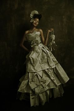 Extra, Extra Paper Doll by Amy M. Phillips and Fairlight Hubbard - Fashion Photography - Recycled dresses - Rubbish - Newspaper