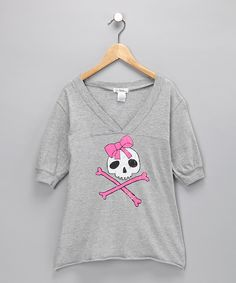 Heather Gray Crossbones V-Neck Tee, $16.99 from #zulily for #fall.  Definitely Uno.