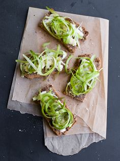 grilled bread with shaved asparagus truffle butter & robiola