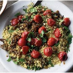 Ottolenghi's Couscous, Cherry Tomato & Herb Salad recipe on -- lots of recipes from his book here. Yotam Ottolenghi, Ottolenghi Recipes, New Recipes, Vegetarian Recipes, Dinner Recipes, Cooking Recipes, Healthy Recipes, Veggie Recipes, Side Recipes