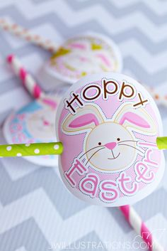 Hoppy Easter Tags - cute printable Easter Party Favor Circles