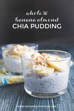 This Whole30 banana almond chia pudding is a great, quick breakfast for mornings on the run. It's Whole30 compliant and paleo-friendly.