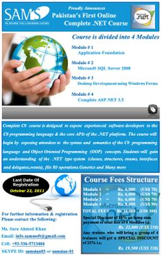 Flyer for Dot Net course in SAMS SOFT