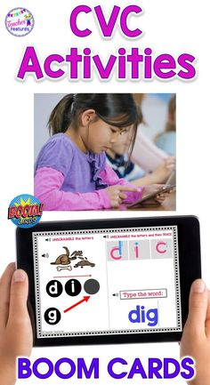 Distance Learning is easy with digital phonics Boom Cards. CVC word spelling activities have SOUND & Animation. Tracing the word & typing the word are also included. Movable answer pieces. Students use sound boxes for each phoneme to build phonological awareness skills. Perfect for literacy centers and homeschool. #BoomLearning #homeschool1stgrade #DistanceLearning #boomcards #wordwork #phonicsactivities #1stgrade #spelling #CVC #kindergarten #boomcardselementary #shortvowels #TeacherFeatures