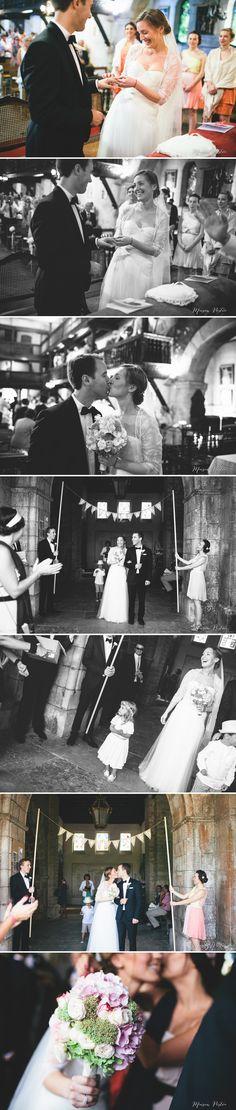sortie église d'arcangues mariage chic franco-anglais