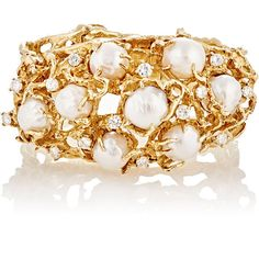 Mahnaz Collection Vintage Women's Yellow Gold & White Pearl Bracelet-C (367.784.730 VND) ❤ liked on Polyvore featuring jewelry, bracelets, colorless, gold bracelet bangle, gold hinged bracelet, yellow gold bangle bracelet, vintage gold jewelry and 14k bangle