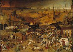 """Pieter Bruegel the Elder - """"O Triunfo da Morte"""", 1562  Em """"O Triunfo da Morte"""", um exército de esqueletos destrói a vida e devasta a terra. A obra está no Museu do Prado, em Madri, pendurada em frente ao """"O Jardim das Delícias Terrenas"""", de Hieronymus Bosch. Segundo o critico Richard B. Woodward, """"o sangue frio da violência não deixa espaço para fantasia."""""""