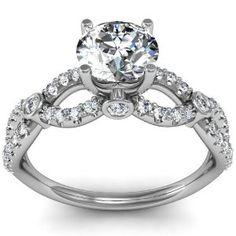 Unique Diamond Engagement Ring Infinity Design