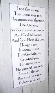 I see the moon and the moon sees me baby nursery sign, God Bless the Moon, Stars sky baby nursery theme, nursery art, little girl's boy's