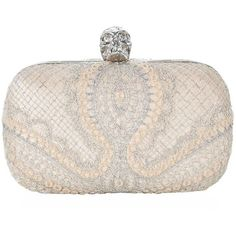 Alexander McQueen Metallic Mesh Skull Box Clutch ($2,580) ❤ liked on Polyvore featuring bags, handbags, clutches, skull purse, evening handbags, evening clutches, box clutch and skull clutches