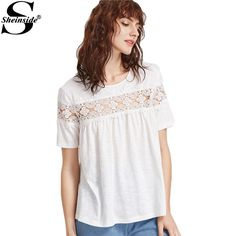 Sheinside Casual Women T-shirt White Floral Lace Brief Summer Tops Keyhole Back Slub Clothing 2017 Vintage Short Sleeve T-shirt