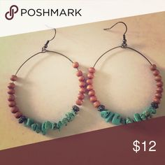 Beaded Turquoise Hoop Earrings Funky and fun earrings! Jewelry Earrings