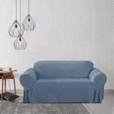 Sure Fit Slipcover Loveseat Microfiber Chair Faux Fur Quilted Denim Sofa Durable
