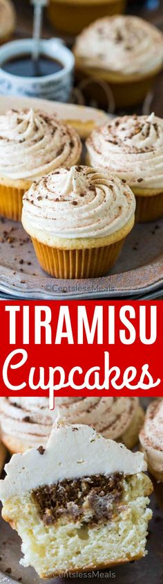 Tiramisu Cupcakes are a delicious take on the classic Italian dessert. Infused with a kahlua and espresso mixture and topped with mascarpone cream, they are one of the easiest and most delicious desserts you can make. #centslessmeals #tiramisu #cupcake #dessert #easyrecipe #espresso #mascarpone