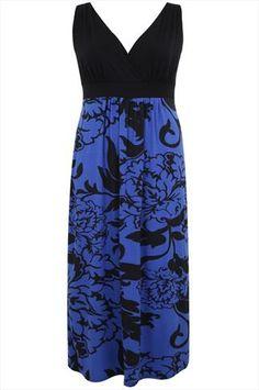 Black And Cobalt Blue Floral Print Maxi Dress With V-Neckline