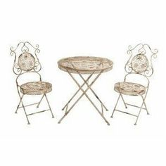 Benzara 63272 Metal Bistro Set of 3 by bombayjewel. $193.61. Perfect for picnics.. Table: 27 x 27 x 30.. Excellent addition to lawn and terrace furniture.. Multipurpose.. Two chairs: 16 x 16 x 38.. Benzara 63272 Metal Bistro Set of 3, Table: 27 x 27 x 30, Two chairs: 16 x 16 x 38, it is a beautiful set of table and chairs, for multi purposes.