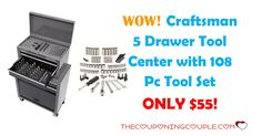 HOT! Get the Craftsman 5 Drawer Tool Center with 108pc Tool Set for ONLY $55 was $159.99 plus FREE Pickup!  Click the link below to get all of the details ► http://www.thecouponingcouple.com/craftsman-5-drawer-tool-center-with-108pc-tool-set/ #Coupons #Couponing #CouponCommunity  Visit us at http://www.thecouponingcouple.com for more great posts!