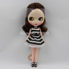 Blythe Nude Doll With Sleeping Eyes from Factory Beige Curly Short Hair