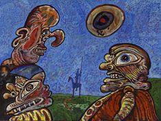 LUCEBERT/Don Quijote bij de herberg (1972) olieverf/doek, 90x120cm  |