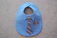 Sewing Baby Gift Shirt and Tie Bib with Pocket Square--Dressed for Success - Baby Bibs Patterns, Adult Bibs, Easy Baby Blanket, Diy Bebe, Bib Pattern, Baby Sewing Projects, Quilt Baby, Baby Shirts, Sewing A Button